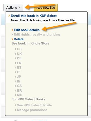 Change Kindle Published Books